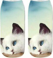 Lichtblauwe Merkloos / Sans marque Dames Sneakersok Cats, Sweetie Maat 36/39
