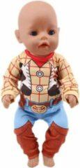 Lynn's Poppenkleertjes - Geschikt voor Baby Born - Pyjama - Woody, Toy Story - Slaapkleding - Nachtkleding