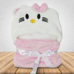 Roze Babydeken Kat - Wikkeldeken & Badcape - 100 x 70 cm - Kraamcadeau - Comfy Capes