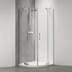 Douche Concurrent Douchecabine Sealskin Get Wet Custom Kwartrond 100x100x195cm Zilver Hoogglans Helder Glas