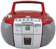 Soundmaster SCD5406RO Radio-Kassettenspieler mit CD-Spieler - rot