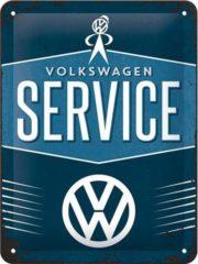 Blauwe Nostalgic Art Merchandising VW Service Metalen wandbord in reliëf 15x20 cm