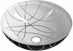 Sapho Murano glazen waskom 40cm wit / zwart