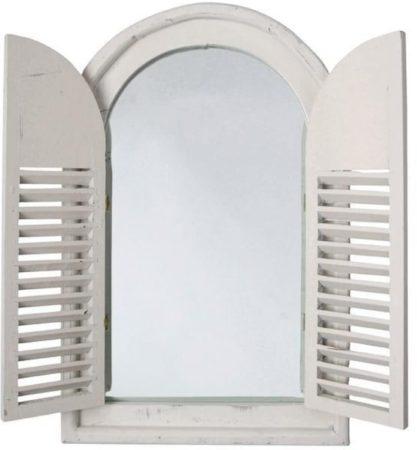Afbeelding van Roestvrijstalen Esschert design Spiegelkozijn met houten deurtjes