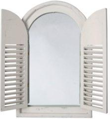 Roestvrijstalen Esschert design Spiegelkozijn met houten deurtjes
