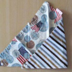 Rode Merkloos / Sans marque Bandana USA vlag met geldmunten / streepmotief in bruintinten