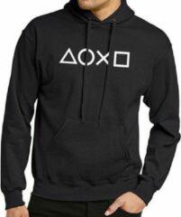 Zwarte Gildan Hoodie sweater | gamer | playstation controller symbols | maat medium