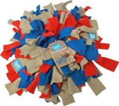Rode Lief! Lifestyle Lief! Snuffelmat Fleece - Taupe/Blauw/Rood - 20 x 20 cm