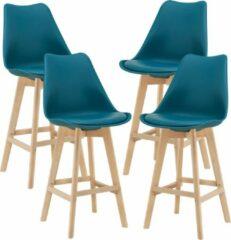 En.casa Barkruk set van 4 kunstleer en beuken 105x48x58 cm turquoise