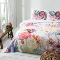 Witte Fresh&Co Fresh & Co - Eenpersoons Dekbedovertrek Vintage Floral 140x220 cm - Katoen - Dekbedovertrek met kussensloop