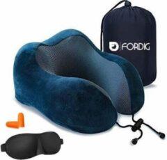 ForDig Traagschuim Nekkussen Inclusief Slaapmasker & Oordopjes– Memory Foam Reiskussen – Travel Pillow – Vliegtuig Kussen – Neksteun Reiskussentje - Blauw
