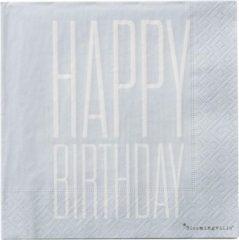 "Blauwe Bloomingville Mini & Kids Bloomingville Papieren servetten ""Happy Birthday"" & ""Congratulations"""