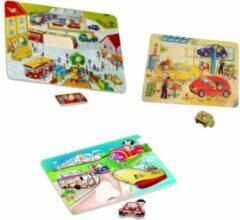 Playwood Knop puzzel stad-auto garage- voertuigen u krijgt 3 assorti geleverd