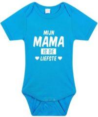 Bellatio Decorations Mijn mama is de liefste tekst baby rompertje blauw jongens - Kraamcadeau - Babykleding 92 (18-24 maanden)