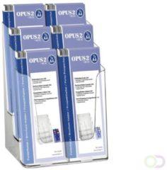 Transparante Folderbakje OPUS 2 6x 1/3 A4 - ideaal voor het presenteren van folders - glashelder, recyclebaar polystyreen