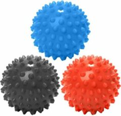 #DoYourFitness - 3 delige set massagebal - »Nica« - Lacrosse Bal / Fasciaball voor effectieve zelfmassage van triggerpoints - diameter 10cm - rood/blauw/zwart