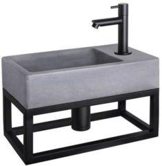 Douche Concurrent Fonteinset Differnz Force Rechthoek 40x22x23.5cm Beton Donkergrijs Handdoekrek Rechte Toiletkraan Clickwaste Sifon Mat Zwart