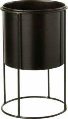 Gouden J-line Bloempot Op Voet Metaal Zwart M