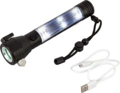 """Zwarte Capture Outdoor, """"Power Flashlight"""" oplaadbare USB Zaklamp + Powerbank functie, 2 in 1, 3 Watt, raambreker, gordelsnijder, ..."""
