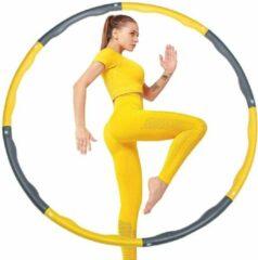 Gele Be Part sportartikelen BPS® - hoelahoep - hoelahoep fitness - hoelahoep volwassenen - hoelahoep met gewicht - hula hoop - Hula hoop fitness - Weight hoop - 1KG - Yellow