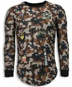 Afbeelding van Bruine Sweater John H 23th US Army Camouflage Shirt - Long Fit Sweater