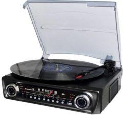 Zwarte Roadstar TTR-9645EBT platenspeler met FM-radio, Bluetooth en USB voor digitalisatie