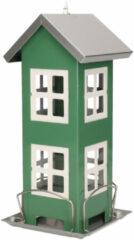 Pro Garden 1x Tuinvogels hangende voeder silo/voederhuisje groen - 13 x 13 x 27 cm - Winter vogelvoer huisjes