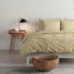 Mistral Home - Dekbedovertrek - 100% gewassen katoen - 200x200+2x65x65 cm - Met flessenhals - Washed look - Geel