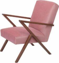 Roze Sternzeit Retro Fauteuil Velvet Vintage Pink