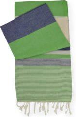 HAVLU Strandlaken stripe donker groen jeans blauw 95x180cm
