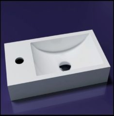 Sanilux Fontein Recto Solid Surface 40X20X10 Cm Mat Wit (Kraangat Links Of Rechts)