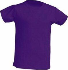 JHK Kinder t-shirt in paars maat 9-11 jaar (140) - set van 5 stuks