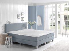 Dreamhouse Boxspringset Julia Blauw 160x210   Standaard onderbox   Comfort 3cm topper   Tijdelijk gratis montage