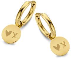 CO88 Collection Sense 8CE 70168 Stalen oorringen met hanger - rond - hart en kus - 12 mm - Goudkleurig