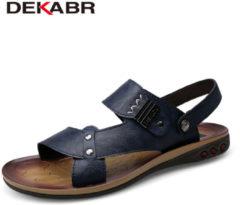 DEKABR Genuine Leather Sandals 2018 Fashion Summer Beach Shoes Flip Flops Big Size 37~47 Men Slipper Breathable Casual Shoes Men