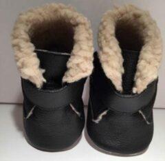 Drukkies Warme leren babyschoentjes zwart maat S