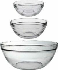 Transparante Duralex Keuken Schaaltjes Set 16x Stuks Van Glas In Diverse Formaten. - 6x Stuks 9 X 4 Cm/8x Stuks 12 X 5 Cm/2x Stuks 12 X 31 Cm