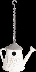 Clayre & Eef Vogelhuis 6Y3565 19*19*25 cm Wit Metaal Rond Gieter Vogelhuisje Hangend Nestkastje