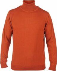 Bruine New Republic Enrico Polo - Heren pullover met colkraag - Cognac