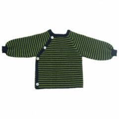 Reiff - Kid's Ringelschlüttli - Merino trui maat 86/92, olijfgroen/zwart