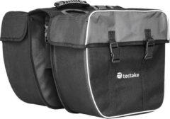 TecTake - Dubbele Fietstas - 35 l - Zwart/Grijs