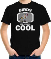 Bellatio Decorations Dieren vogels t-shirt zwart kinderen - birds are serious cool shirt jongens/ meisjes - cadeau shirt putter vogel/ vogels liefhebber L (146-152)