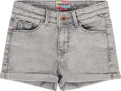 Licht-grijze Vingino Meisjes High Waist Short Jeans - Light Grey - Maat 98
