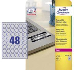 Zilveren Avery-Zweckform L6129-20 Labels Ø 30 mm Polyester film Silver 960 pc(s) Permanent Nameplates Laser, Copier