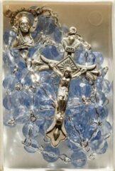 Van Santen Fashion Charm Jewelry Rozenkrans doorzichtig blauw Ketting met kruisje