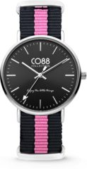 CO88 Collection Watches 8CW 10034 Horloge - Nato Band - Ø 36 mm - Zwart / Roze