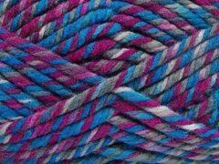 DEWOLWINKEL.NL Dikke wol breien op breinaalden dikte 10-12 mm. – gemeleerd breiwol kopen blauw fuchsia tinten – superwashwol gemengd met acryl garen - self striping knitting yarn breigaren pakket 2 bollen van 200gram