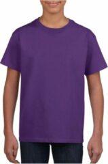 Gildan Paars basic t-shirt met ronde hals voor kinderen unisex- katoen - 145 grams - paarse shirts / kleding voor jongens en meisjes XS (104-110)