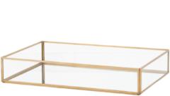 Goudkleurige Beliani Grenoble Dienblad Glas 20 X 30 Cm