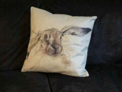 Oranje Wellness-House   Kussenhoes Bunny 45*45cm   Linnen kussenhoes met konijnen opdruk zonder kussen   woondecoratie